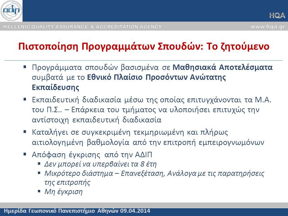Πιστοποίηση Προγραμμάτων Σπουδών: Το ζητούμενο Ημερίδα Γεωπονικό Πανεπιστήμιο Αθηνών 09.04.2014  Προγράμματα σπουδών βασισμένα σε Μαθησιακά Αποτελέσματα συμβατά με το Εθνικό Πλαίσιο Προσόντων Ανώτατης Εκπαίδευσης  Εκπαιδευτική διαδικασία μέσω της οποίας επιτυγχάνονται τα Μ.Α.