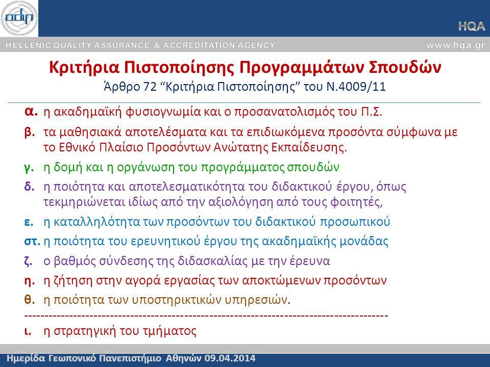 Κριτήρια Πιστοποίησης Προγραμμάτων Σπουδών Άρθρο 72 Κριτήρια Πιστοποίησης του Ν.4009/11 Ημερίδα Γεωπονικό Πανεπιστήμιο Αθηνών 09.04.2014 α.