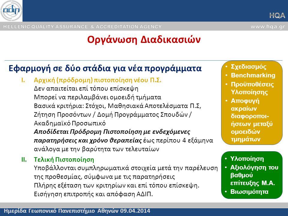 Οργάνωση Διαδικασιών Ημερίδα Γεωπονικό Πανεπιστήμιο Αθηνών 09.04.2014 Εφαρμογή σε δύο στάδια για νέα προγράμματα I.Αρχική (πρόδρομη) πιστοποίηση νέου Π.Σ.