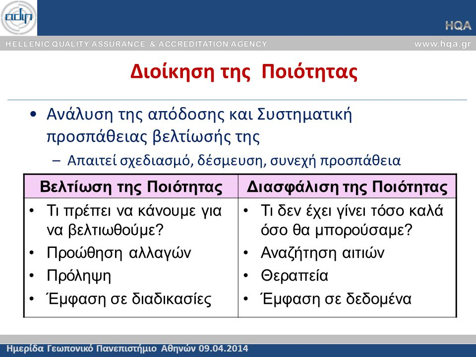 Εξειδίκευση Γενικών Κριτηρίων Πιστοποίησης (2ε/2) Άρθρο 72 Κριτήρια Πιστοποίησης του Ν.4009/11 Ημερίδα Γεωπονικό Πανεπιστήμιο Αθηνών 09.04.2014 ε) η καταλληλότητα των προσόντων του διδακτικού προσωπικού, –Ο αριθμός και οι εξειδικεύσεις του διδακτικού προσωπικού είναι επαρκή για την διδασκαλία των μαθημάτων του προγράμματος σπουδών.