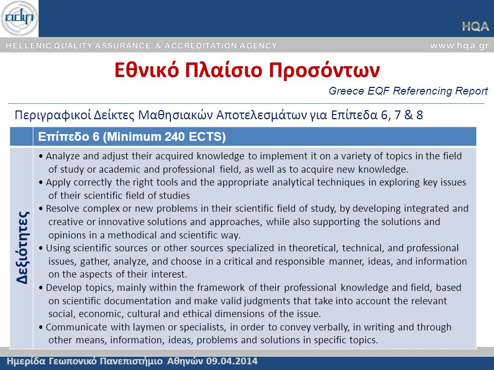 Greece EQF Referencing Report Εθνικό Πλαίσιο Προσόντων Ημερίδα Γεωπονικό Πανεπιστήμιο Αθηνών 09.04.2014 Περιγραφικοί Δείκτες Μαθησιακών Αποτελεσμάτων για Επίπεδα 6, 7 & 8 Επίπεδο 6 (Minimum 240 ECTS) Δεξιότητες • Analyze and adjust their acquired knowledge to implement it on a variety of topics in the field of study or academic and professional field, as well as to acquire new knowledge.
