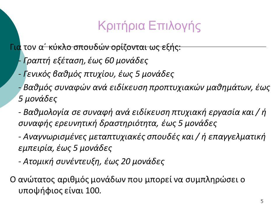 5 Κριτήρια Επιλογής Για τον α΄ κύκλο σπουδών ορίζονται ως εξής: - Γραπτή εξέταση, έως 60 μονάδες - Γενικός βαθμός πτυχίου, έως 5 μονάδες - Βαθμός συνα