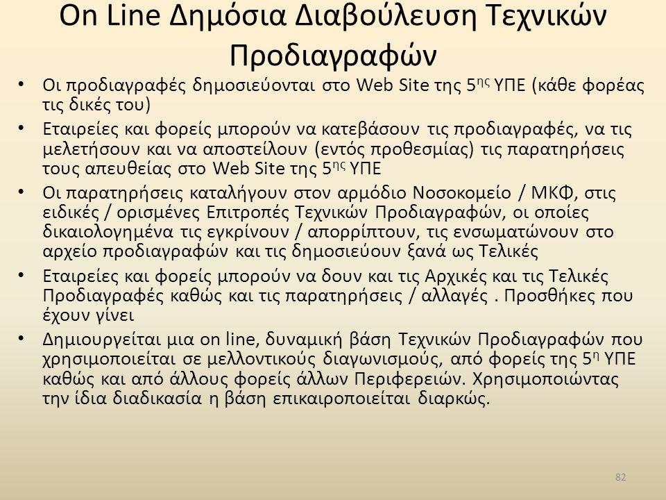 On Line Δημόσια Διαβούλευση Τεχνικών Προδιαγραφών • Οι προδιαγραφές δημοσιεύονται στο Web Site της 5 ης ΥΠΕ (κάθε φορέας τις δικές του) • Εταιρείες κα