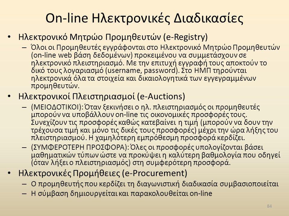 On-line Ηλεκτρονικές Διαδικασίες • Ηλεκτρονικό Μητρώο Προμηθευτών (e-Registry) – Όλοι οι Προμηθευτές εγγράφονται στο Ηλεκτρονικό Μητρώο Προμηθευτών (o