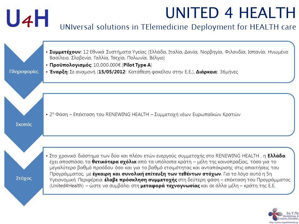 UNITED 4 HEALTH UNIversal solutions in TElemedicine Deployment for HEALTH care Πληροφορίες •Συμμετέχουν: 12 Εθνικά Συστήματα Υγείας (Ελλάδα, Ιταλία, Δ