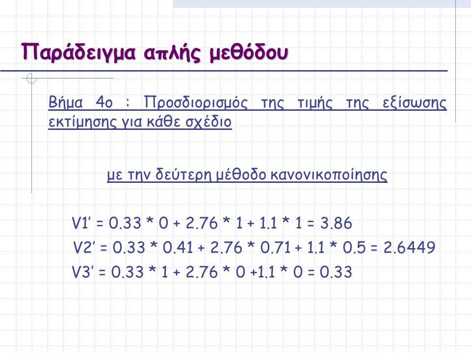 Παράδειγμα απλής μεθόδου Bήμα 4ο : Προσδιορισμός της τιμής της εξίσωσης εκτίμησης για κάθε σχέδιο με την δεύτερη μέθοδο κανονικοποίησης V1' = 0.33 * 0
