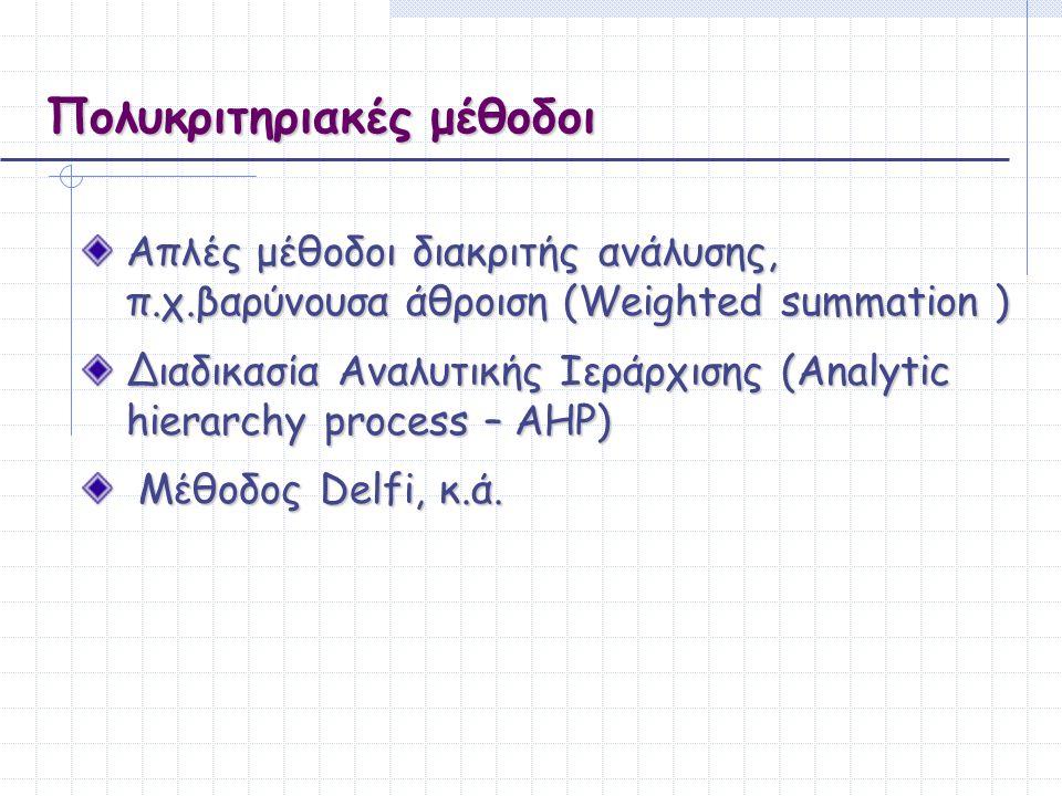 Πολυκριτηριακές μέθοδοι Απλές μέθοδοι διακριτής ανάλυσης, π.χ.βαρύνουσα άθροιση (Weighted summation ) Διαδικασία Αναλυτικής Ιεράρχισης (Αnalytic hiera