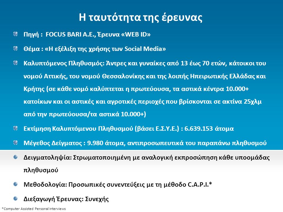 Η ταυτότητα της έρευνας Πηγή : FOCUS BARI A.E., Έρευνα «WEB ID» Θέμα : «Η εξέλιξη της χρήσης των Social Media» Καλυπτόμενος Πληθυσμός: Άντρες και γυναίκες από 13 έως 70 ετών, κάτοικοι του νομού Αττικής, του νομού Θεσσαλονίκης και της λοιπής Ηπειρωτικής Ελλάδας και Κρήτης (σε κάθε νομό καλύπτεται η πρωτεύουσα, τα αστικά κέντρα 10.000+ κατοίκων και οι αστικές και αγροτικές περιοχές που βρίσκονται σε ακτίνα 25χλμ από την πρωτεύουσα/τα αστικά 10.000+) Εκτίμηση Καλυπτόμενου Πληθυσμού (βάσει Ε.Σ.Υ.Ε.) : 6.639.153 άτομα Μέγεθος Δείγματος : 9.980 άτομα, αντιπροσωπευτικά του παραπάνω πληθυσμού Δειγματοληψία: Στρωματοποιημένη με αναλογική εκπροσώπηση κάθε υποομάδας πληθυσμού Μεθοδολογία: Προσωπικές συνεντεύξεις με τη μέθοδο C.A.P.I.* Διεξαγωγή Έρευνας: Συνεχής *Computer Assisted Personal Interviews