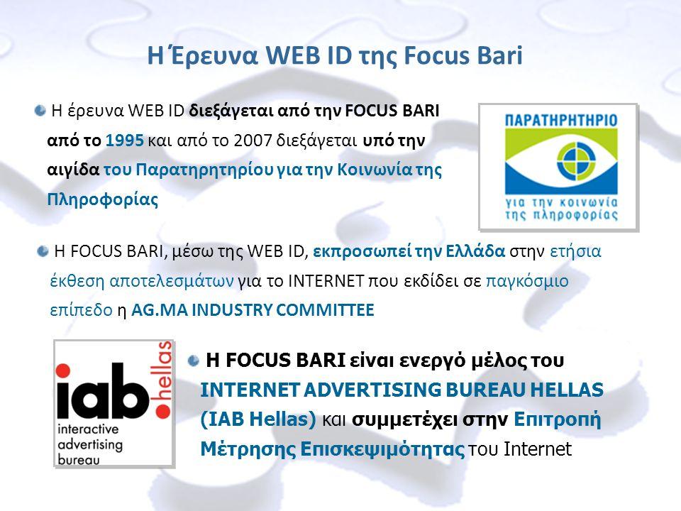 Η έρευνα WEB ID διεξάγεται από την FOCUS BARI από το 1995 και από το 2007 διεξάγεται υπό την αιγίδα του Παρατηρητηρίου για την Κοινωνία της Πληροφορίας Η Έρευνα WEB ID της Focus Bari Η FOCUS BARI, μέσω της WEB ID, εκπροσωπεί την Ελλάδα στην ετήσια έκθεση αποτελεσμάτων για το INTERNET που εκδίδει σε παγκόσμιο επίπεδο η AG.MA INDUSTRY COMMITTEE Η FOCUS BARI είναι ενεργό μέλος του INTERNET ADVERTISING BUREAU HELLAS (IAB Hellas) και συμμετέχει στην Επιτροπή Μέτρησης Επισκεψιμότητας του Internet