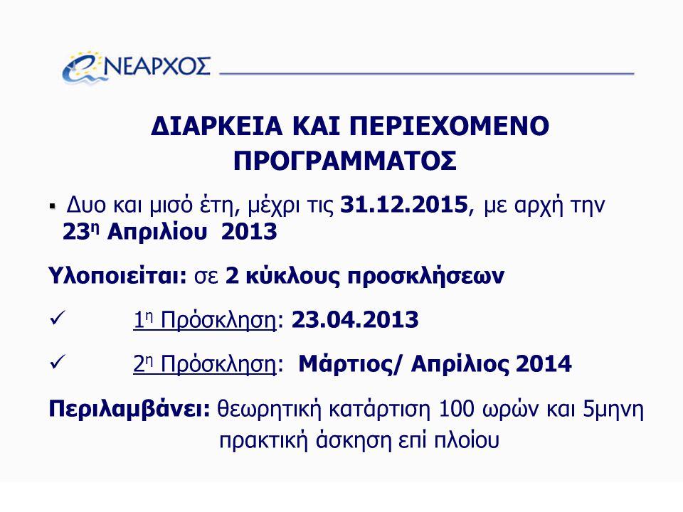 ΔΙΑΡΚΕΙΑ ΚΑΙ ΠΕΡΙΕΧΟΜΕΝΟ ΠΡΟΓΡΑΜΜΑΤΟΣ   Δυο και μισό έτη, μέχρι τις 31.12.2015, με αρχή την 23 η Απριλίου 2013 Υλοποιείται: σε 2 κύκλους προσκλήσεων  1 η Πρόσκληση: 23.04.2013  2 η Πρόσκληση: Μάρτιος/ Απρίλιος 2014 Περιλαμβάνει: θεωρητική κατάρτιση 100 ωρών και 5μηνη πρακτική άσκηση επί πλοίου