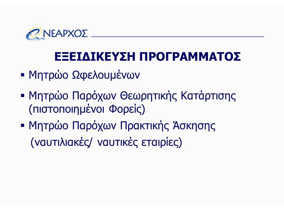 ΕΞΕΙΔΙΚΕΥΣΗ ΠΡΟΓΡΑΜΜΑΤΟΣ  Μητρώο Ωφελουμένων  Μητρώο Παρόχων Θεωρητικής Κατάρτισης (πιστοποιημένοι Φορείς)  Μητρώο Παρόχων Πρακτικής Άσκησης (ναυτιλιακές/ ναυτικές εταιρίες)