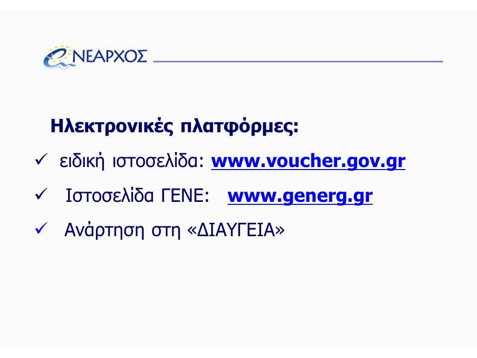 Ηλεκτρονικές πλατφόρμες:  ειδική ιστοσελίδα: www.voucher.gov.grwww.voucher.gov.gr  Ιστοσελίδα ΓΕΝΕ: www.generg.grwww.generg.gr  Ανάρτηση στη «ΔΙΑΥΓΕΙΑ»