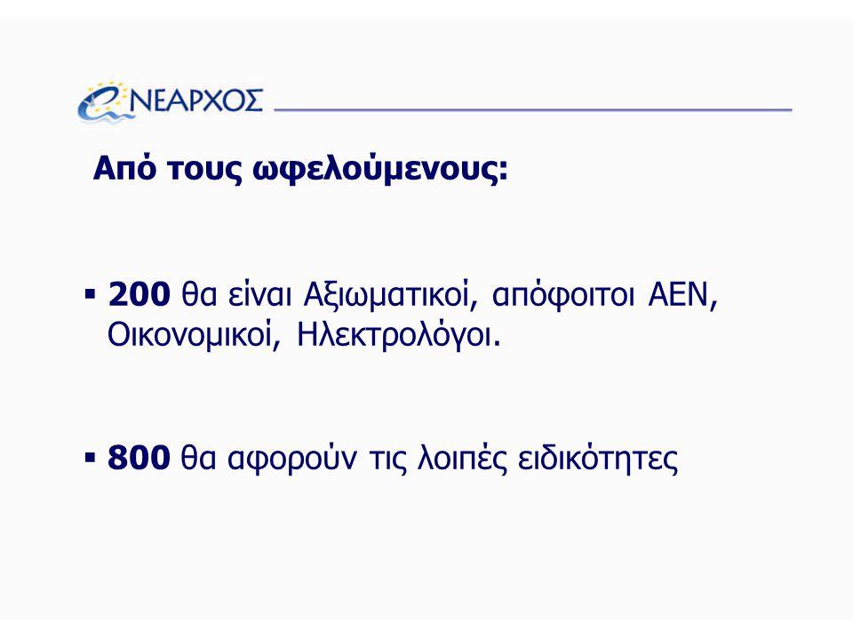 Από τους ωφελούμενους:  200 θα είναι Αξιωματικοί, απόφοιτοι ΑΕΝ, Οικονομικοί, Ηλεκτρολόγοι.