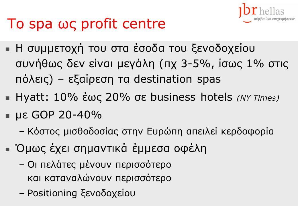 Το spa ως profit centre  H συμμετοχή του στα έσοδα του ξενοδοχείου συνήθως δεν είναι μεγάλη (πχ 3-5%, ίσως 1% στις πόλεις) – εξαίρεση τα destination