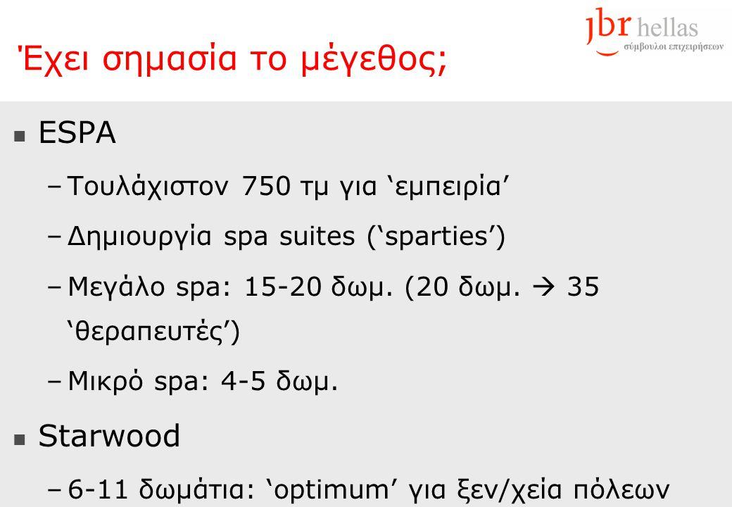 Έχει σημασία το μέγεθος;  ESPA –Τουλάχιστον 750 τμ για 'εμπειρία' –Δημιουργία spa suites ('sparties') –Μεγάλο spa: 15-20 δωμ. (20 δωμ.  35 'θεραπευτ