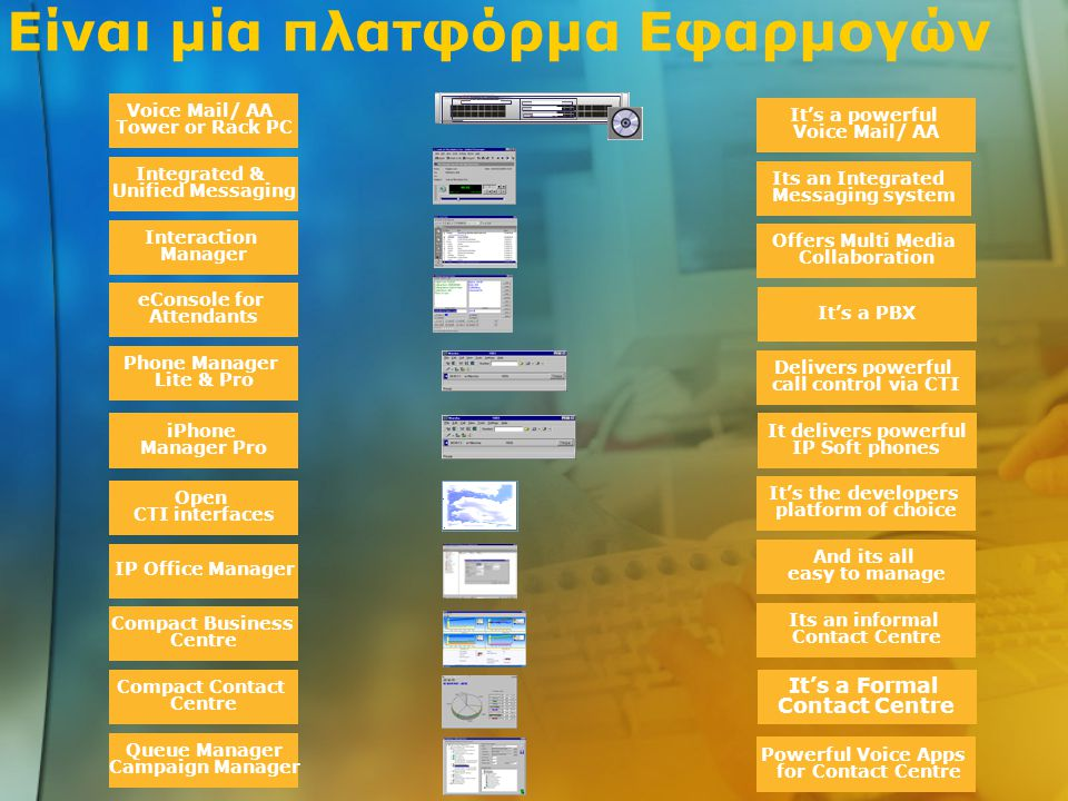 Είναι μία πλατφόρμα Εφαρμογών Voice Mail/ AA Tower or Rack PC Integrated & Unified Messaging Interaction Manager eConsole for Attendants Phone Manager Lite & Pro iPhone Manager Pro Open CTI interfaces IP Office Manager Compact Business Centre Compact Contact Centre Queue Manager Campaign Manager It's a powerful Voice Mail/ AA Its an Integrated Messaging system Offers Multi Media Collaboration It's a PBX Delivers powerful call control via CTI It delivers powerful IP Soft phones It's the developers platform of choice And its all easy to manage Its an informal Contact Centre It's a Formal Contact Centre Powerful Voice Apps for Contact Centre