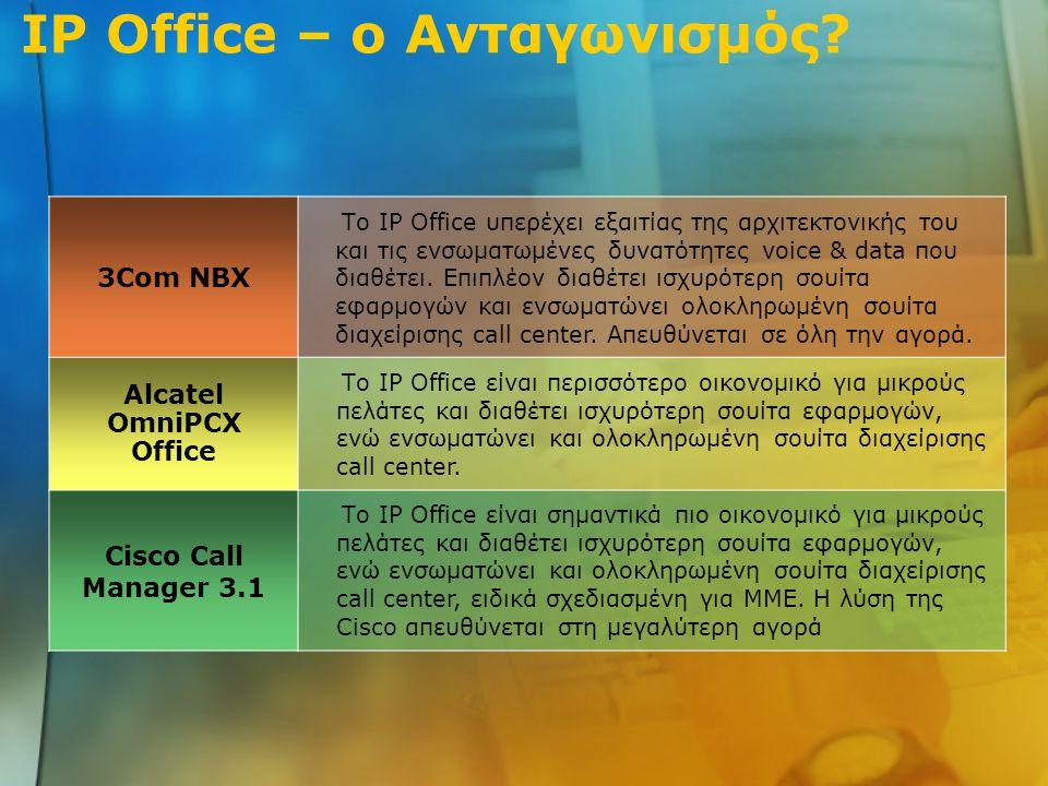 3Com NBX Το IP Office υπερέχει εξαιτίας της αρχιτεκτονικής του και τις ενσωματωμένες δυνατότητες voice & data που διαθέτει.