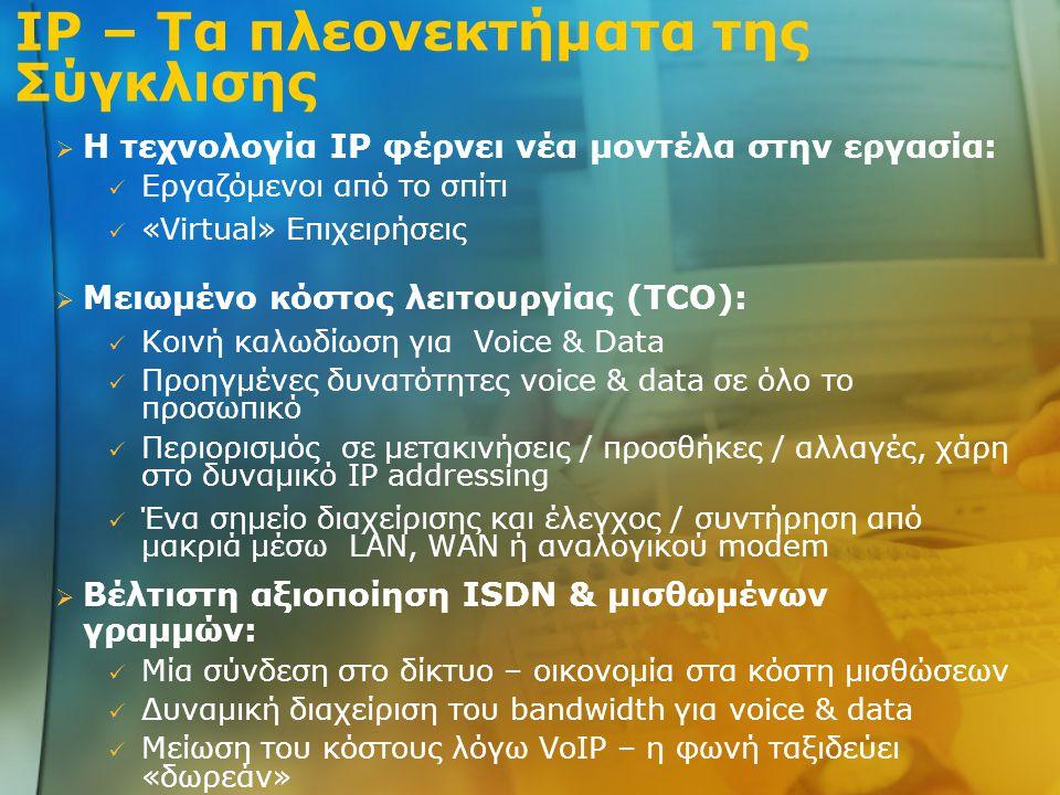 IP – Τα πλεονεκτήματα της Σύγκλισης Η τεχνολογία IP φέρνει νέα μοντέλα στην εργασία: •Εργαζόμενοι από το σπίτι •«Virtual» Επιχειρήσεις Μειωμένο κόστος λειτουργίας (TCO): Βέλτιστη αξιοποίηση ISDN & μισθωμένων γραμμών: •Κοινή καλωδίωση για Voice & Data •Προηγμένες δυνατότητες voice & data σε όλο το προσωπικό •Περιορισμός σε μετακινήσεις / προσθήκες / αλλαγές, χάρη στο δυναμικό IP addressing •Ένα σημείο διαχείρισης και έλεγχος / συντήρηση από μακριά μέσω LAN, WAN ή αναλογικού modem •Μία σύνδεση στο δίκτυο – οικονομία στα κόστη μισθώσεων •Δυναμική διαχείριση του bandwidth για voice & data •Μείωση του κόστους λόγω VoIP – η φωνή ταξιδεύει «δωρεάν»