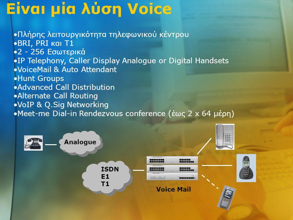 Είναι μία λύση Data Network Server WAN Remote Office Remote Office Router ISDN T1 E1 Analogue Modem ISDN TA ISDN Router GSM TDMA CDMA Remote Access Server Συμβατότητα με Cajun Switches, Avaya Wireless & VPNet Internet Access ISP Internet ISDN dial-up Leased-line or xDSL