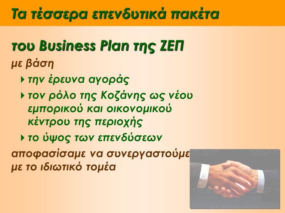 Τα τέσσερα επενδυτικά πακέτα του Business Plan της ΖΕΠ με βάση  την έρευνα αγοράς  τον ρόλο της Κοζάνης ως νέου εμπορικού και οικονομικού κέντρου της περιοχής  το ύψος των επενδύσεων αποφασίσαμε να συνεργαστούμε με το ιδιωτικό τομέα