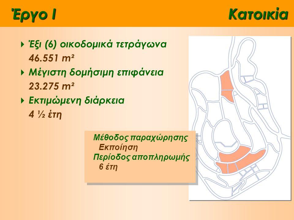 Έργο IΚατοικία  Έξι (6) οικοδομικά τετράγωνα 46.551 m²  Μέγιστη δομήσιμη επιφάνεια 23.275 m²  Εκτιμώμενη διάρκεια 4 ½ έτη Μέθοδος παραχώρησης Εκποίηση Περίοδος αποπληρωμής 6 έτη Μέθοδος παραχώρησης Εκποίηση Περίοδος αποπληρωμής 6 έτη