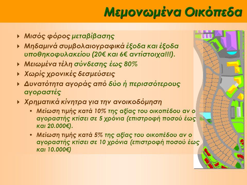 Μεμονωμένα Οικόπεδα  Μισός φόρος μεταβίβασης  Μηδαμινά συμβολαιογραφικά έξοδα και έξοδα υποθηκοφυλακείου (20€ και 6€ αντίστοιχα!!!).