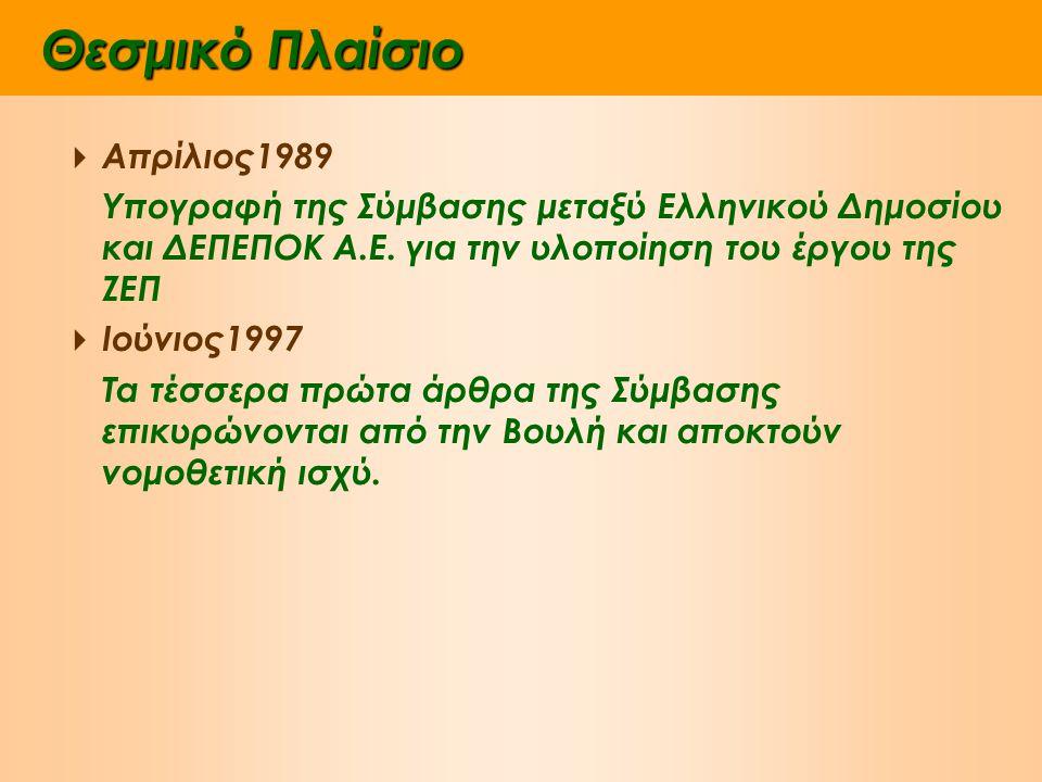 Θεσμικό Πλαίσιο  Απρίλιος1989 Υπογραφή της Σύμβασης μεταξύ Ελληνικού Δημοσίου και ΔΕΠΕΠΟΚ Α.Ε.