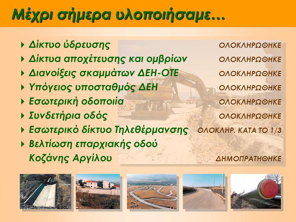 και αυτή τη στιγμή υλοποιούμε…  Ασφαλτοστρώσεις, πεζοδρόμια Εργασίες σε εξέλιξη  Υπολειπόμενο δίκτυο τηλεθέρμανσης και εξωτερικός αγωγός σύνδεσης με το δίκτυο της Κοζάνης Εγκρίθηκε η χρηματοδότηση του έργου από το Επιχειρησιακό Πρόγραμμα Ανταγωνιστικότητα (ΕΠΑΝ)) ύψους 3,9 εκατ.