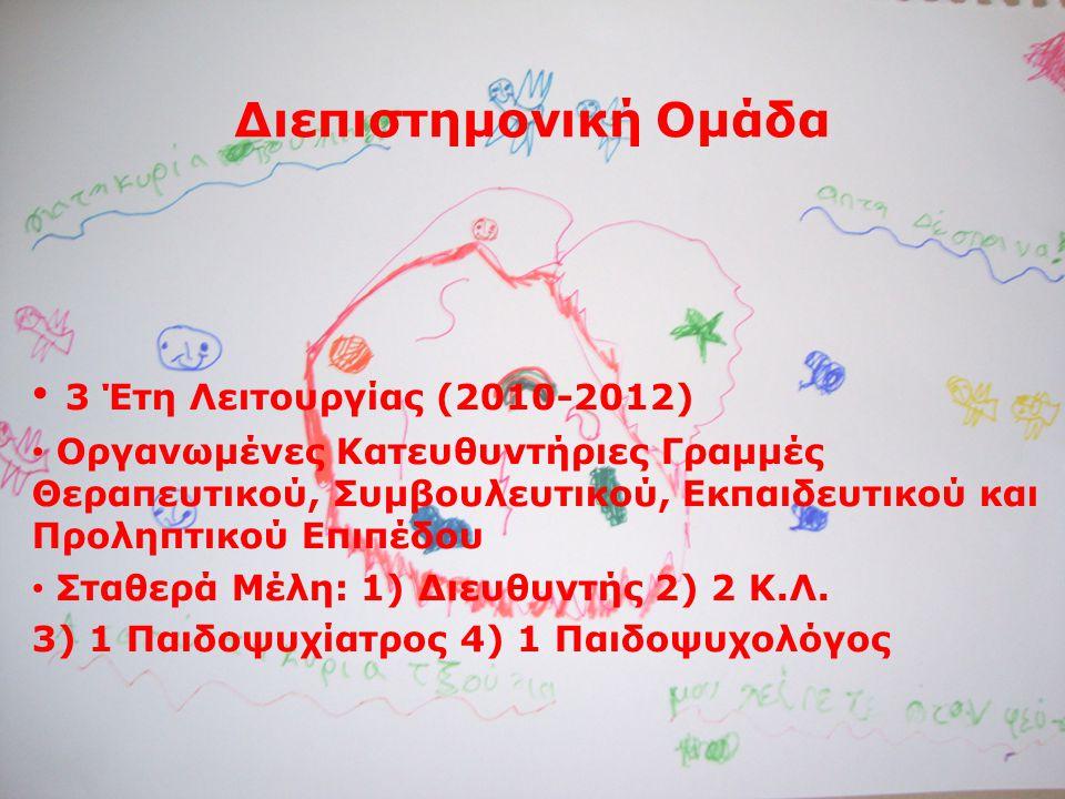 Διεπιστημονική Ομάδα • 3 Έτη Λειτουργίας (2010-2012) • Οργανωμένες Κατευθυντήριες Γραμμές Θεραπευτικού, Συμβουλευτικού, Εκπαιδευτικού και Προληπτικού Επιπέδου • Σταθερά Μέλη: 1) Διευθυντής 2) 2 Κ.Λ.