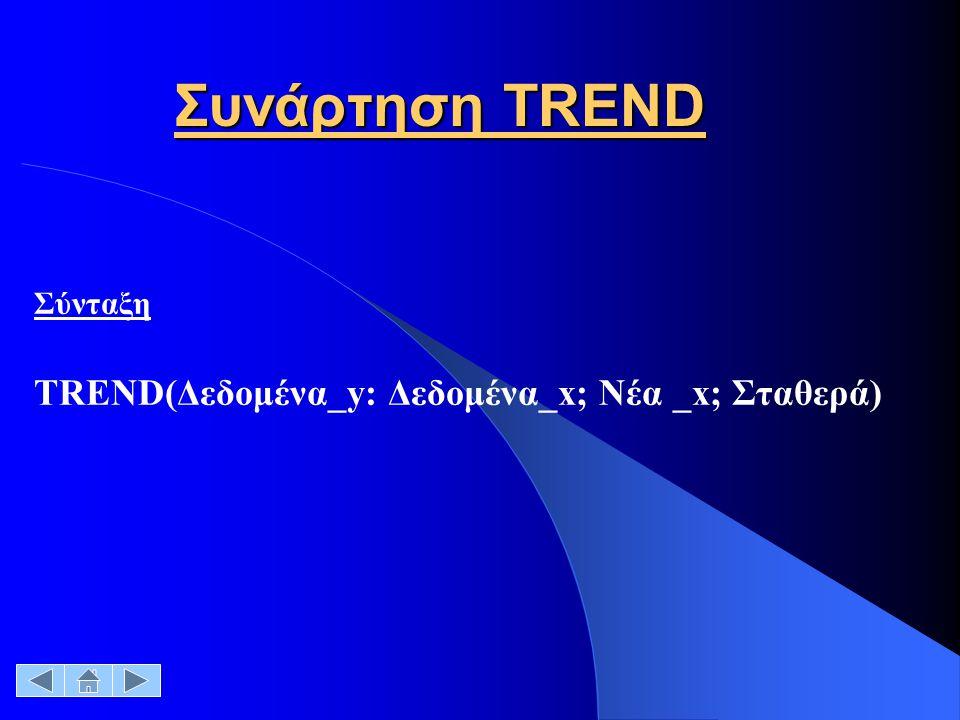 Συνάρτηση TREND Σύνταξη ΤRΕΝD(Δεδομένα_y: Δεδομένα_x; Νέα _x; Σταθερά)