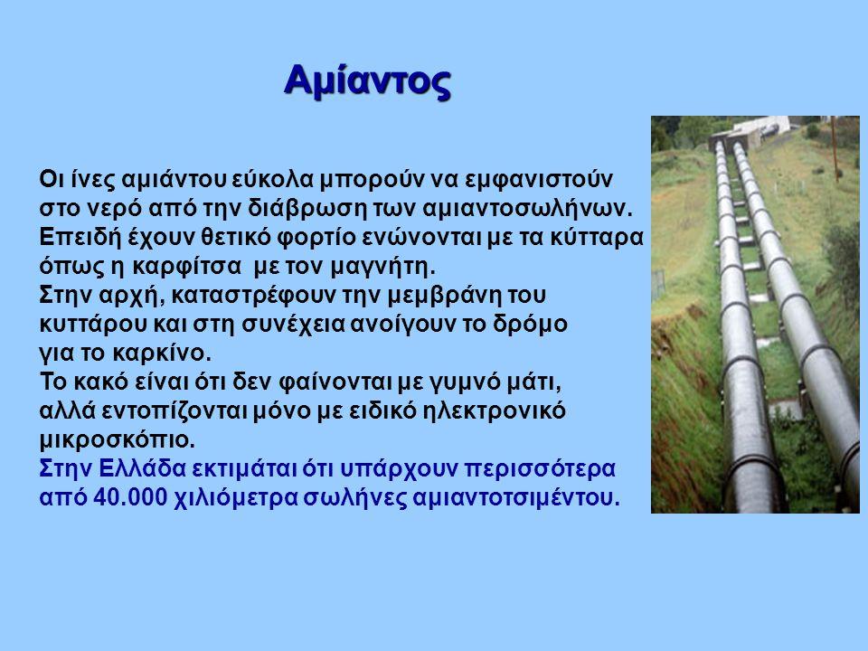 Αμίαντος Οι ίνες αμιάντου εύκολα μπορούν να εμφανιστούν στο νερό από την διάβρωση των αμιαντοσωλήνων. Επειδή έχουν θετικό φορτίο ενώνονται με τα κύττα