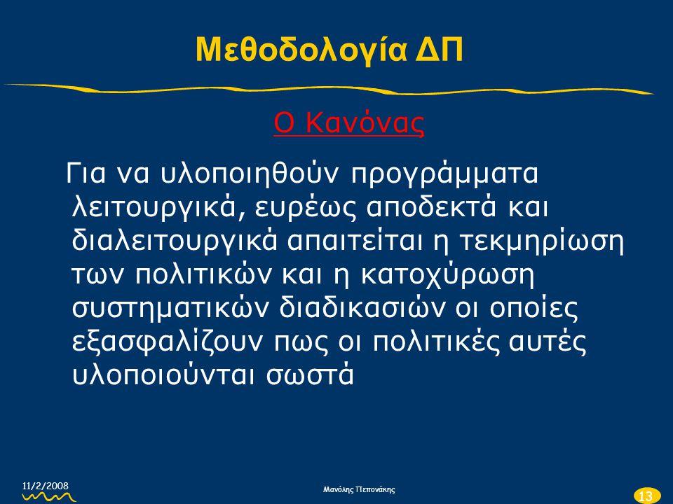 11/2/2008 Μανόλης Πεπονάκης 13 Μεθοδολογία ΔΠ Ο Κανόνας Για να υλοποιηθούν προγράμματα λειτουργικά, ευρέως αποδεκτά και διαλειτουργικά απαιτείται η τε