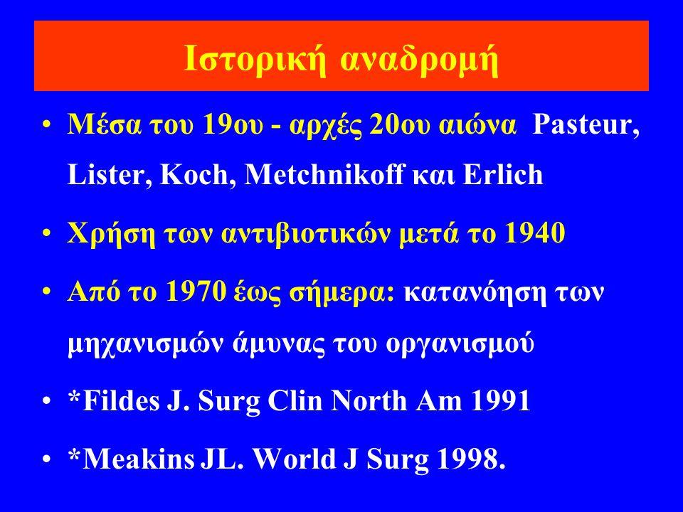 Ιστορική αναδρομή •Mέσα του 19ου - αρχές 20ου αιώνα Pasteur, Lister, Koch, Metchnikoff και Erlich •Χρήση των αντιβιοτικών μετά το 1940 •Από το 1970 έω