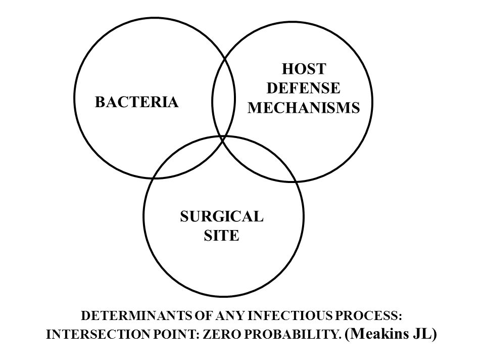 DETERMINANTS OF ANY INFECTIOUS PROCESS: INTERSECTION POINT: ZERO PROBABILITY. (Meakins JL) BACTERIA HOST DEFENSE MECHANISMS SURGICAL SITE