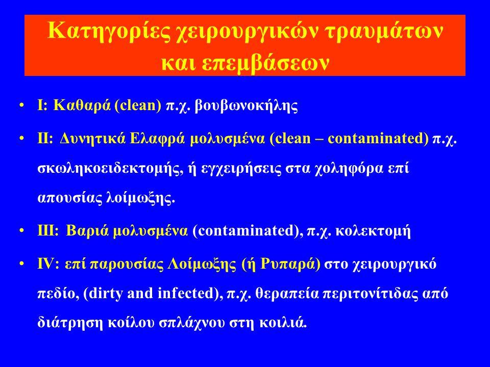 Κατηγορίες χειρουργικών τραυμάτων και επεμβάσεων •I: Καθαρά (clean) π.χ. βουβωνοκήλης •II: Δυνητικά Ελαφρά μολυσμένα (clean – contaminated) π.χ. σκωλη