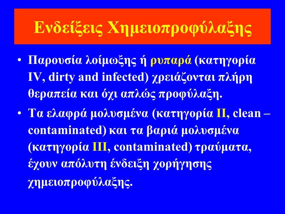 Ενδείξεις Χημειοπροφύλαξης •Παρουσία λοίμωξης ή ρυπαρά (κατηγορία IV, dirty and infected) χρειάζονται πλήρη θεραπεία και όχι απλώς προφύλαξη. •Τα ελαφ