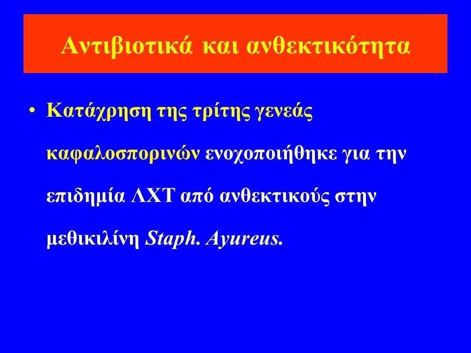 Αντιβιοτικά και ανθεκτικότητα •Κατάχρηση της τρίτης γενεάς καφαλοσπορινών ενοχοποιήθηκε για την επιδημία ΛΧΤ από ανθεκτικούς στην μεθικιλίνη Staph. Ay