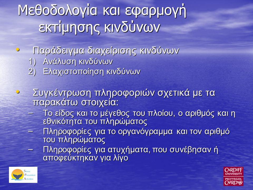 Μεθοδολογία και εφαρμογή εκτίμησης κινδύνων • Παράδειγμα διαχείρισης κινδύνων 1)Ανάλυση κινδύνων 2)Ελαχιστοποίηση κινδύνων • Συγκέντρωση πληροφοριών σχετικά με τα παρακάτω στοιχεία: – Το είδος και το μέγεθος του πλοίου, ο αριθμός και η εθνικότητα του πληρώματος – Πληροφορίες για το οργανόγραμμα και τον αριθμό του πληρώματος – Πληροφορίες για ατυχήματα, που συνέβησαν ή αποφεύκτηκαν για λίγο