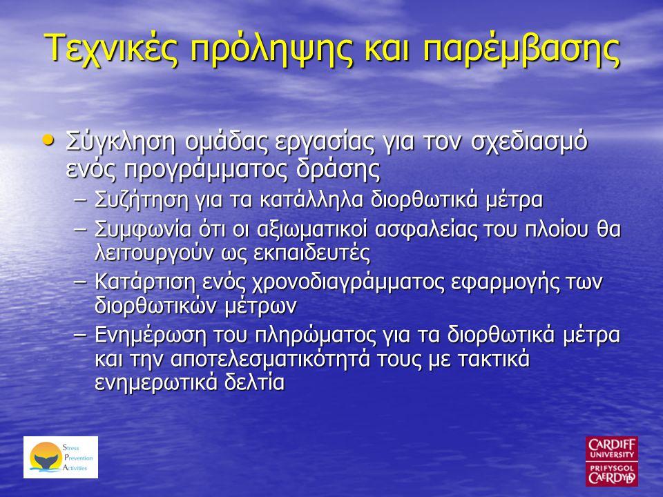 Τεχνικές πρόληψης και παρέμβασης • Σύγκληση ομάδας εργασίας για τον σχεδιασμό ενός προγράμματος δράσης –Συζήτηση για τα κατάλληλα διορθωτικά μέτρα –Συμφωνία ότι οι αξιωματικοί ασφαλείας του πλοίου θα λειτουργούν ως εκπαιδευτές –Κατάρτιση ενός χρονοδιαγράμματος εφαρμογής των διορθωτικών μέτρων –Ενημέρωση του πληρώματος για τα διορθωτικά μέτρα και την αποτελεσματικότητά τους με τακτικά ενημερωτικά δελτία