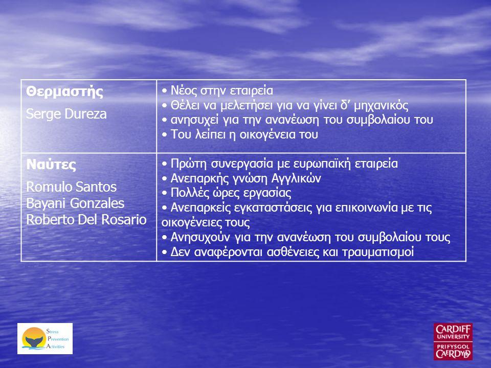 Θερμαστής Serge Dureza • Νέος στην εταιρεία • Θέλει να μελετήσει για να γίνει δ' μηχανικός • ανησυχεί για την ανανέωση του συμβολαίου του • Του λείπει η οικογένεια του Ναύτες Romulo Santos Bayani Gonzales Roberto Del Rosario • Πρώτη συνεργασία με ευρωπαϊκή εταιρεία • Ανεπαρκής γνώση Αγγλικών • Πολλές ώρες εργασίας • Ανεπαρκείς εγκαταστάσεις για επικοινωνία με τις οικογένειες τους • Ανησυχούν για την ανανέωση του συμβολαίου τους • Δεν αναφέρονται ασθένειες και τραυματισμοί