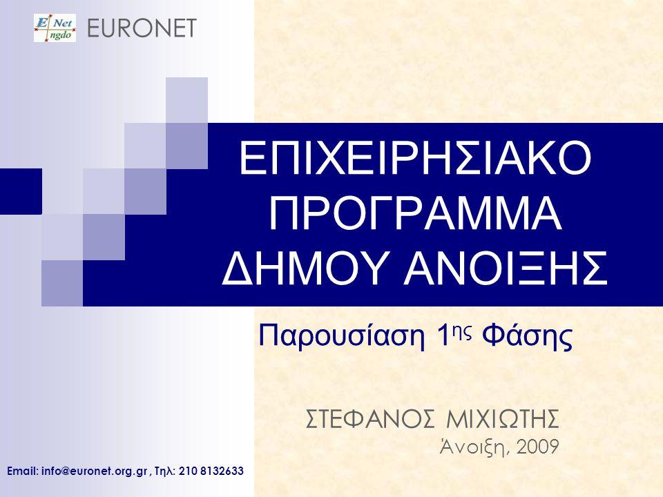 ΕΠΙΧΕΙΡΗΣΙΑΚΟ ΠΡΟΓΡΑΜΜΑ ΔΗΜΟΥ ΑΝΟΙΞΗΣ Παρουσίαση 1 ης Φάσης ΣΤΕΦΑΝΟΣ ΜΙΧΙΩΤΗΣ Άνοιξη, 2009 EURONET Email: info@euronet.org.gr, Tηλ: 210 8132633