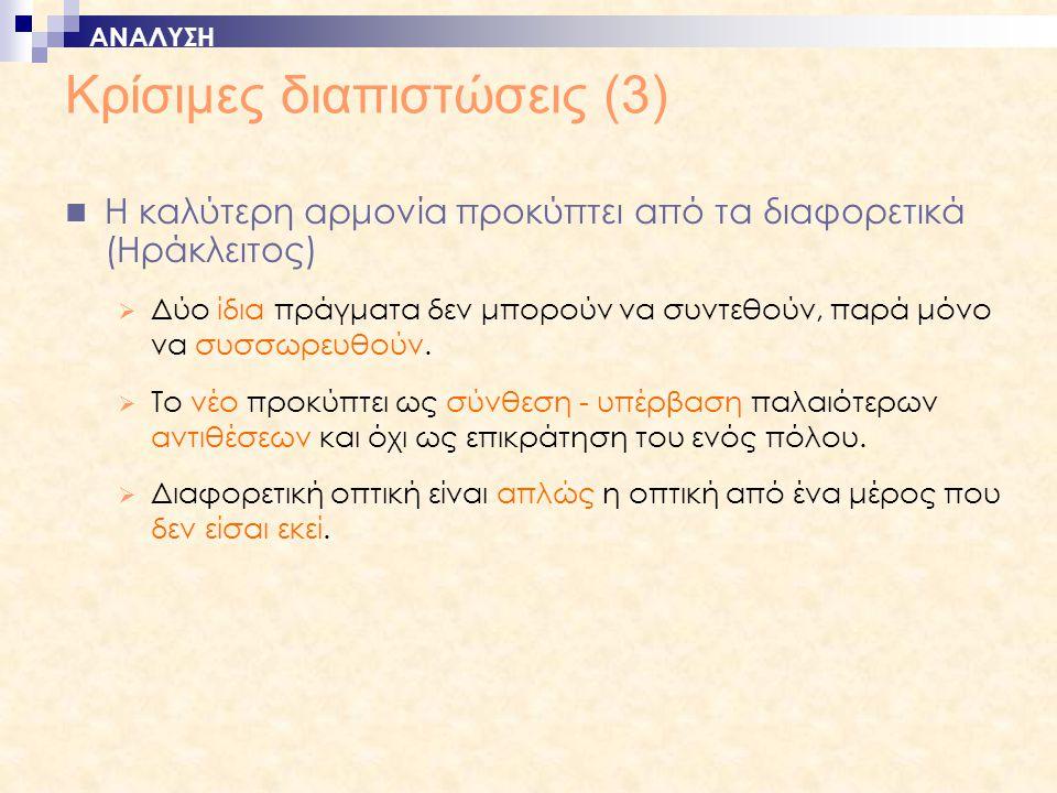 Κρίσιμες διαπιστώσεις (3)  Η καλύτερη αρμονία προκύπτει από τα διαφορετικά (Ηράκλειτος)  Δύο ίδια πράγματα δεν μπορούν να συντεθούν, παρά μόνο να συσσωρευθούν.