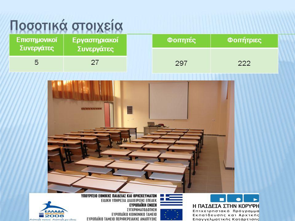 ΦοιτητέςΦοιτήτριες 297 222 Eπιστημονικοί Συνεργάτες Εργαστηριακοί Συνεργάτες 527