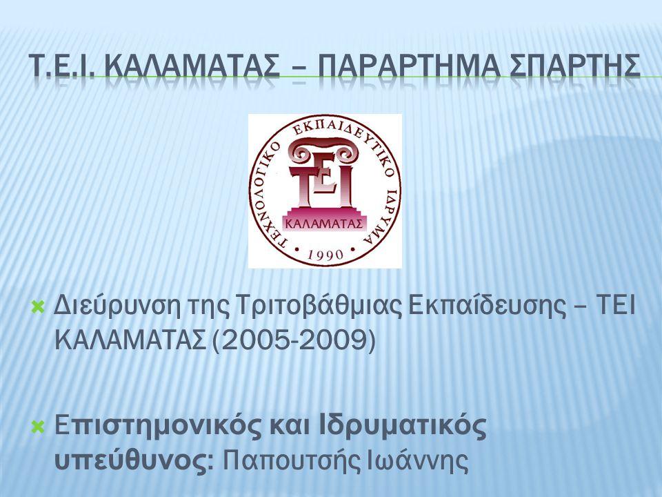  Διεύρυνση της Τριτοβάθμιας Εκπαίδευσης – ΤΕΙ ΚΑΛΑΜΑΤΑΣ (2005-2009)  Ε πιστημονικός και Ιδρυματικός υπεύθυνος : Παπουτσής Ιωάννης