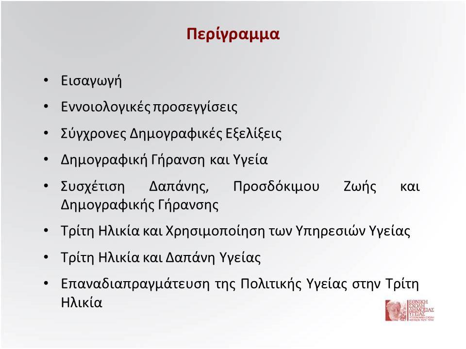 Η Δαπάνη Υγείας για την Τρίτη Ηλικία •Η Ελλάδα εμφανίζει συμπτώματα δημογραφικής γήρανσης, καθώς το ποσοστό των ηλικιωμένων άνω των 65 ετών αναμένεται να φθάσει το 20-25% έως το 2050, από 17% που είναι σήμερα.