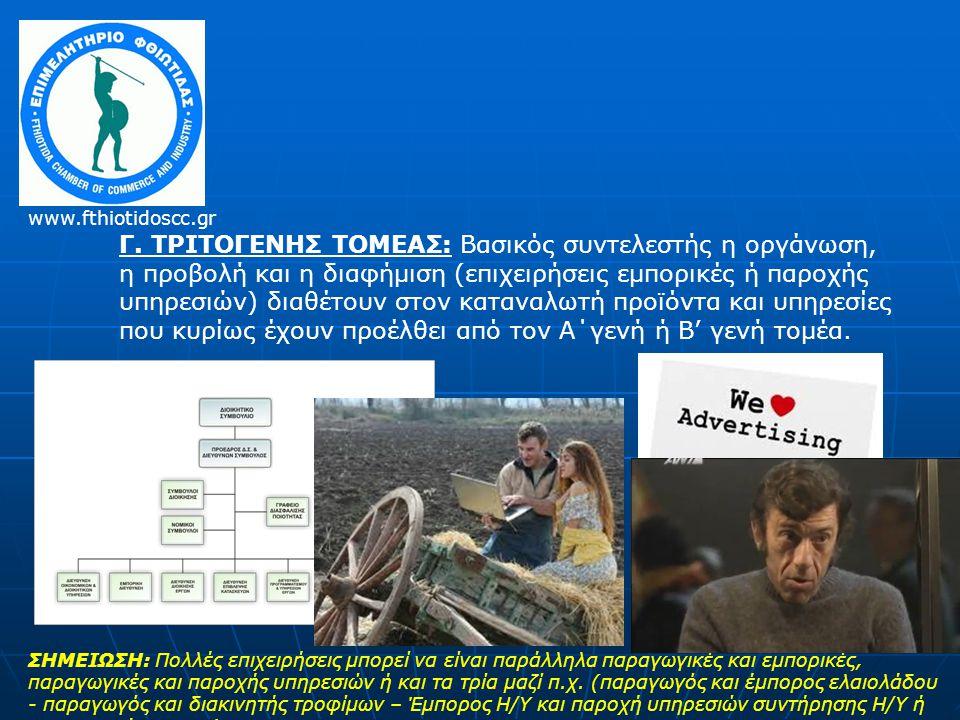 Γ. ΤΡΙΤΟΓΕΝΗΣ ΤΟΜΕΑΣ: Βασικός συντελεστής η οργάνωση, η προβολή και η διαφήμιση (επιχειρήσεις εμπορικές ή παροχής υπηρεσιών) διαθέτουν στον καταναλωτή