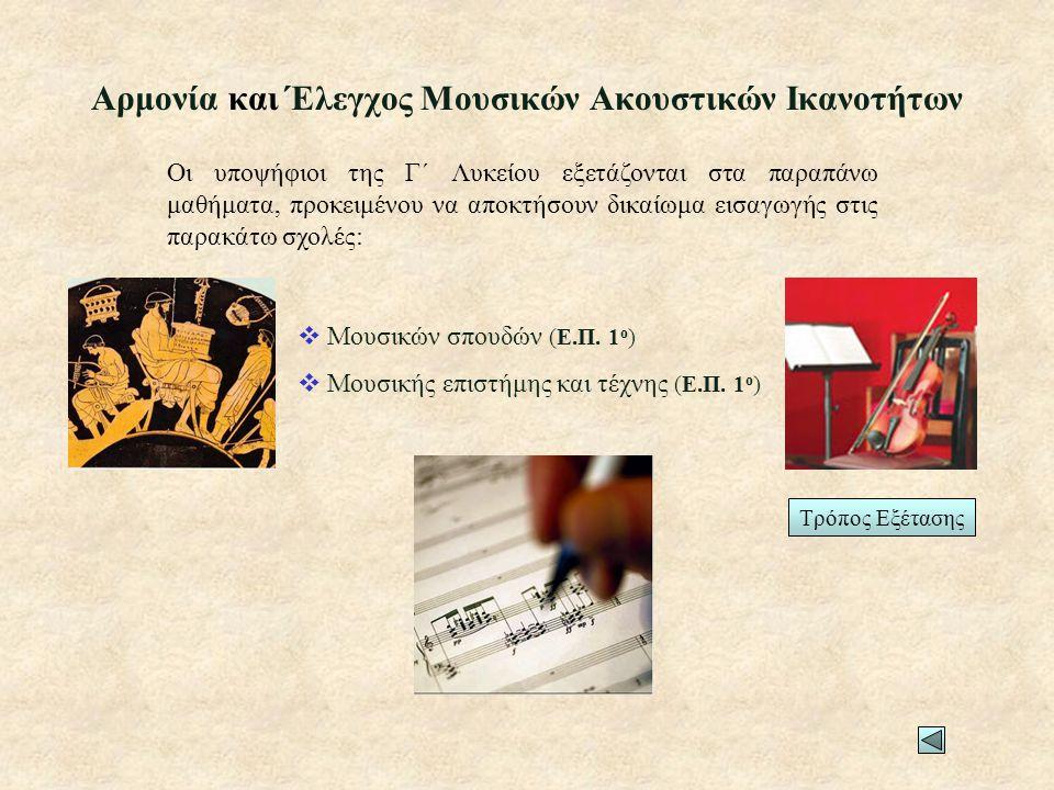 Αρμονία και Έλεγχος Μουσικών Ακουστικών Ικανοτήτων  Μουσικών σπουδών (Ε.Π.