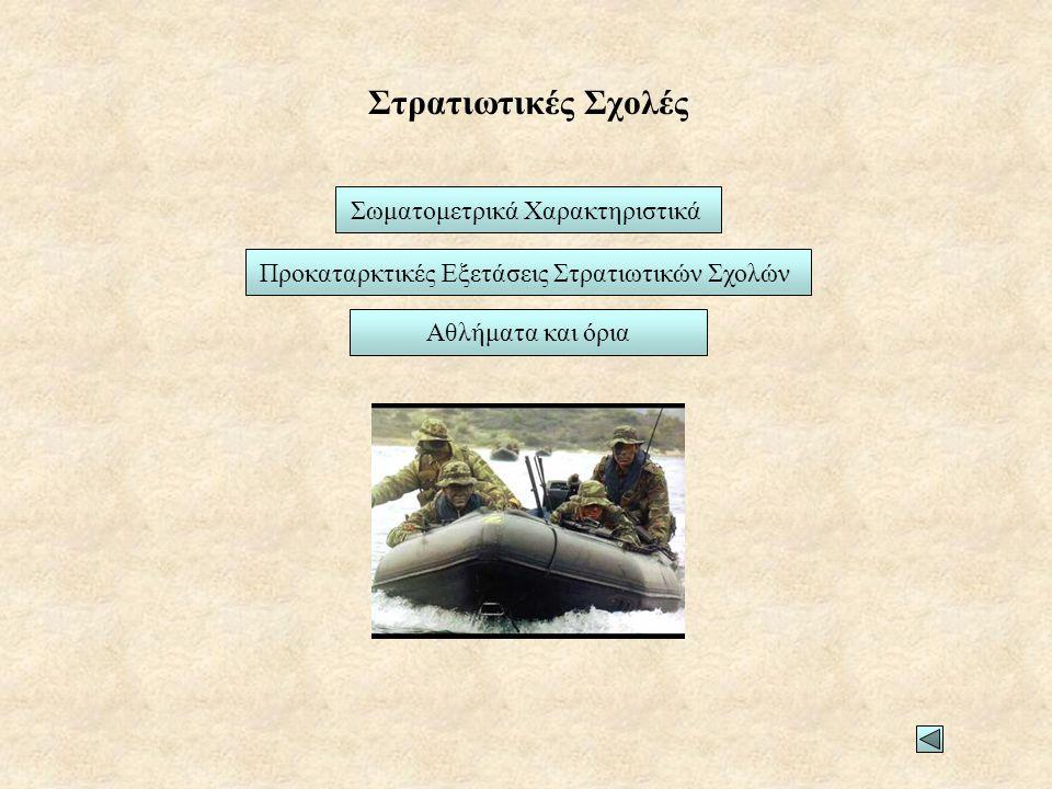 Στρατιωτικές Σχολές Σωματομετρικά Χαρακτηριστικά Προκαταρκτικές Εξετάσεις Στρατιωτικών Σχολών Αθλήματα και όρια