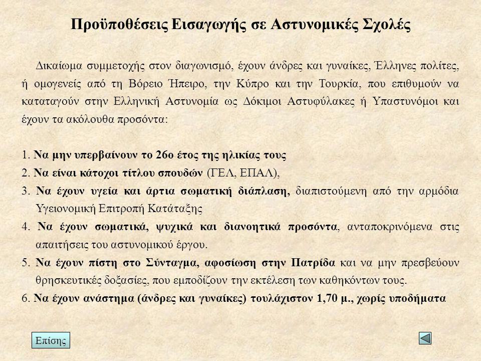 Προϋποθέσεις Εισαγωγής σε Αστυνομικές Σχολές Δικαίωμα συμμετοχής στον διαγωνισμό, έχουν άνδρες και γυναίκες, Έλληνες πολίτες, ή ομογενείς από τη Βόρειο Ήπειρο, την Κύπρο και την Τουρκία, που επιθυμούν να καταταγούν στην Ελληνική Αστυνομία ως Δόκιμοι Αστυφύλακες ή Υπαστυνόμοι και έχουν τα ακόλουθα προσόντα: 1.