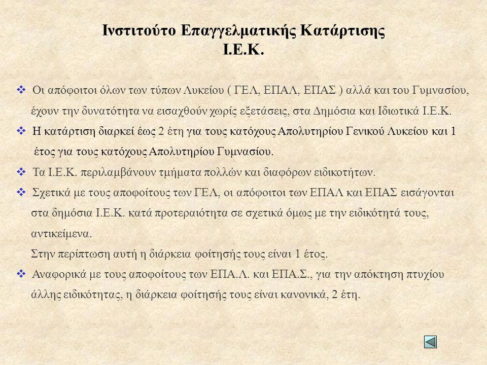 Ανώτατα Εκπαιδευτικά Ιδρύματα (ΑΕΙ) • Βιολογίας (Αθήνα, Θεσσαλονίκη, Πάτρα, Ηράκλειο) • Βιολογικών Εφαρμογών και Τεχνολογιών Πανεπιστήμιο Ιωαννίνων • Βιοχημείας και Βιοτεχνολογίας Πανεπιστήμιο Θεσσαλίας (Λάρισα) • Επιστήμης Διαιτολογίας και Διατροφής Χαροκόπειου Πανεπιστημίου (Αθήνα) • Επιστήμης Τροφίμων & Διατροφής (Λήμνος) • Ιατρικής (Αθήνα, Θεσσαλονίκη, Ιωάννινα, Λάρισα, Αλεξανδρούπολη, Ηράκλειο, Πάτρα) • Κτηνιατρικής (Θεσσαλονίκη, Καρδίτσα) • Μοριακής Βιολογίας και Γενετικής Πανεπιστήμιο Θράκης (Αλεξανδρούπολη) • Νοσηλευτικής (Αθήνα, Σπάρτη) • Οδοντιατρικής (Αθήνα, Θεσσαλονίκη) • Φαρμακευτικής (Αθήνα, Θεσσαλονίκη, Πάτρα) (Επιστημών Υγείας) Επιστημονικό Πεδίο 3ο